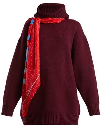 Balenciaga Scarf Hooded Wool Sweater - Womens - Burgundy Multi