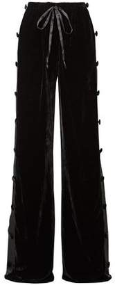 Naeem Khan Satin-paneled Velvet Wide-leg Pants