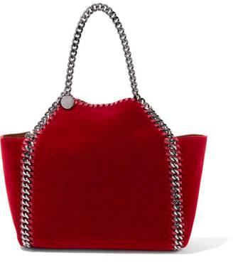 Stella McCartney The Falabella Small Reversible Velvet Tote - Crimson