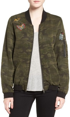 Women's Sanctuary Butterfly Patch Camo Bomber Jacket $149 thestylecure.com