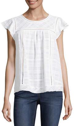 Liz Claiborne Short Sleeve Scoop Neck Woven Blouse