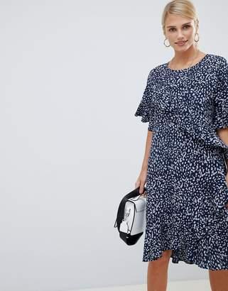 Vila printed ruffle panel dress