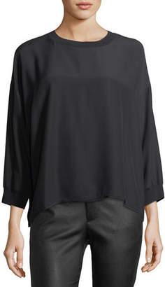 Vince Crewneck Long-Sleeve Silk Blouse