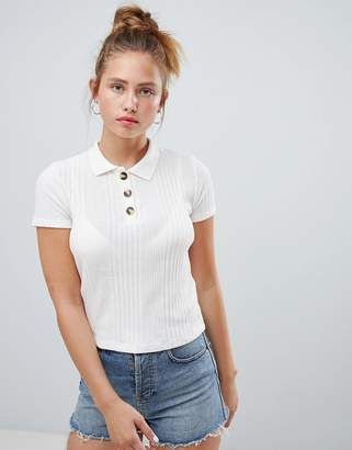 Pull&Bear knitted polo top in cream
