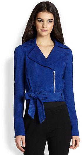 Diane von Furstenberg Kazara Cropped Suede Moto Jacket