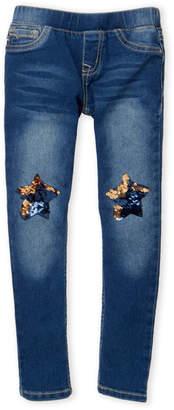 Vigoss Girls 4-6x) Sequin Star Pull-On Skinny Jeans