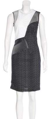 Yigal Azrouel Leather-Trimmed Eyelet Dress