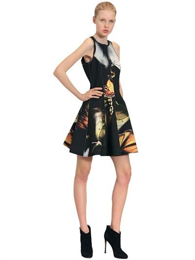 Faith Connexion Butterfly Printed Neoprene Flare Dress