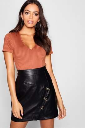 boohoo Mock Horn Button Diagonal Panel Leather Look PU Mini Skirt