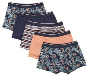 F&F 5 Pack Of Exotic Print, Striped And Plain Trunks With As New Technology 8-9 years