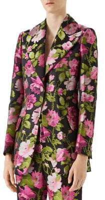 Gucci Floral Jacquard Two-Button Blazer