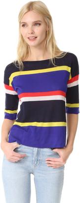 Autumn Cashmere Multi Stripe Cashmere Boat Neck Pullover $276 thestylecure.com