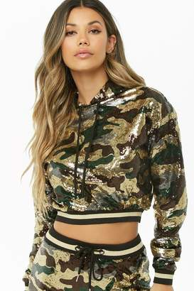 Forever 21 Hooded Sequin Camo Varsity Top