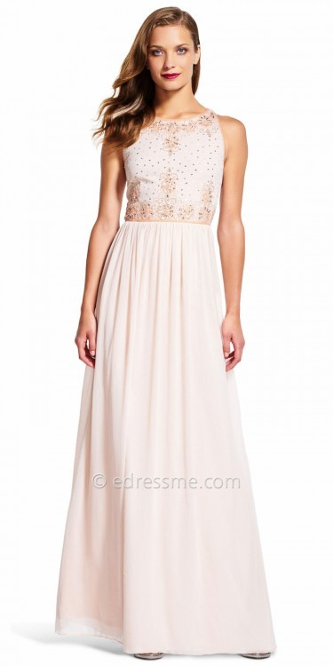Adrianna PapellAdrianna Papell Floral Embroidered A-line Chiffon Evening Dress