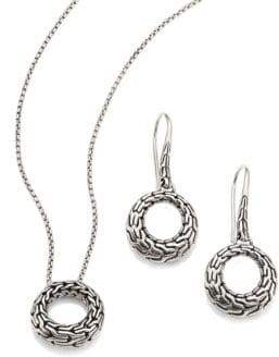 John Hardy Classic Chain Sterling Silver Small Round Pendant Necklace & Drop Earrings Gift Box Set