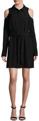 Ramy Brook Monica Cold-Shoulder Shirtdress, Black $425 thestylecure.com