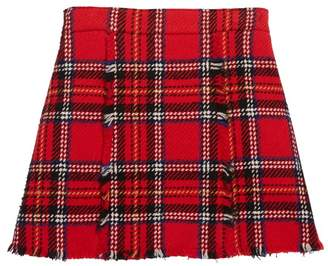 Oscar de la Renta Plaid Wool Tweed Pleated Skirt