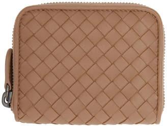 Bottega Veneta Pink Intrecciato Small Zip Around Wallet