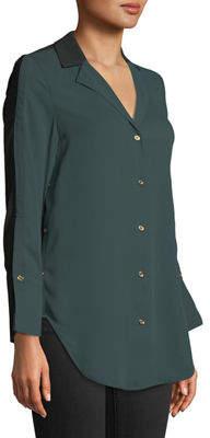 MICHAEL Michael Kors Colorblocked Chiffon Button-Front Blouse