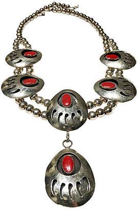 One Kings Lane Vintage Sterling & Coral Squash Blossom Necklace