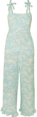 Faithfull The Brand Frankie Ruffled Shirred Floral-print Crepe Jumpsuit - Sky blue