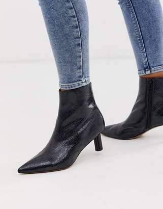 Asos Design DESIGN Rapids kitten heel boots in black snake