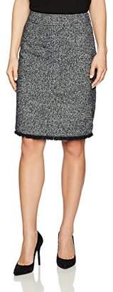 Ellen Tracy Women's Petite Size Tweed A-line Skirt with Fringe Trim