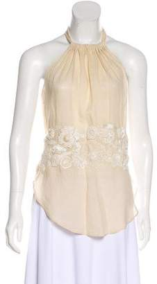 Max Mara Embroidered Halter Top