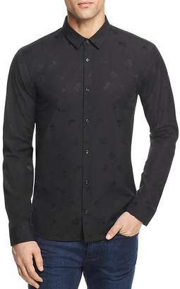 HUGO Ero3 Tonal Pattern Slim Fit Button-Down Shirt