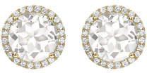 Kiki McDonough Grace White Topaz & Diamond Halo Stud Earrings in 18K Yellow Gold