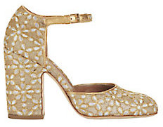Laurence Dacade Mindy Floral Ankle Strap Pumps $720 thestylecure.com
