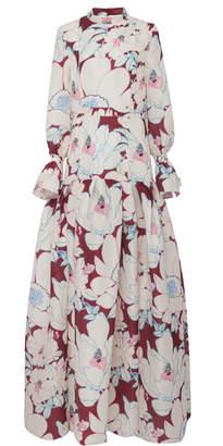 Carolina Herrera Floral Printed Drop Waist Silk Gown Size: 12