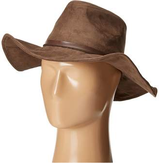 San Diego Hat Company Kids Faux Suede Floppy Fedora Hat with Wired Brim and Faux Leather Band Fedora Hats