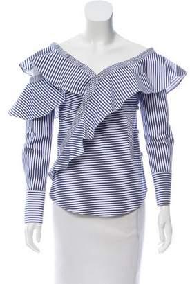 Self-Portrait Striped Long Sleeve Top