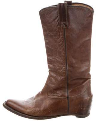 Maison Margiela 2000 Leather Mid-Calf Boots Brown 2000 Leather Mid-Calf Boots