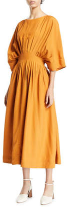 Co 1/2-Sleeve Pleated Midi Dress