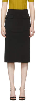 Givenchy Black Knit Gold Button Pencil Skirt