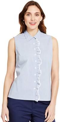 Izod Womens Eyelet Ruffle Sleeveless Shirt