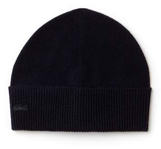Lacoste Men's Ribbed Turned Edge Wool Jersey Beanie