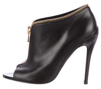 Tom Ford Leather Peep-Toe Booties