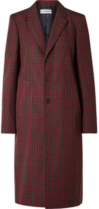 Balenciaga Checked Wool Coat - Claret