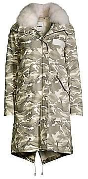 Yves Salomon Army by Army by Women's Camouflage Fox Fur-Trim Jacket