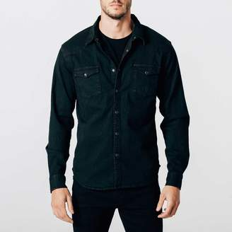 DSTLD Mens Snap Button Down Denim Shirt in Black Overdye