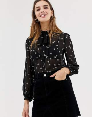 Jack Wills metallic detail tie neck blouse