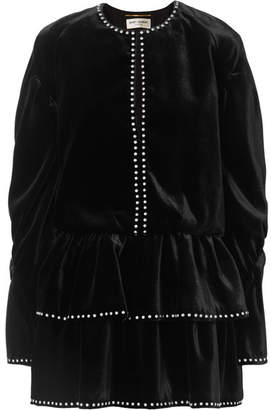 Saint Laurent Studded Ruffled Velvet Mini Dress - Black