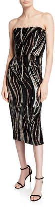 Dress the Population Claire Sequin Stripe Strapless Cocktail Dress