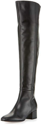 Gianvito Rossi Seamed Leather Over-the-Knee Boots, Black
