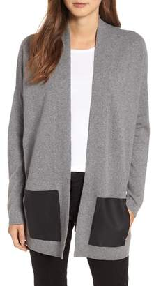 Eileen Fisher Cashmere & Wool Cardigan with Leather Pockets