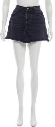 Reformation Distressed Denim Mini Skirt