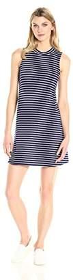 Tiana B Women's Stripe Rayon Spandex Mock Neck Sleeveless Dress